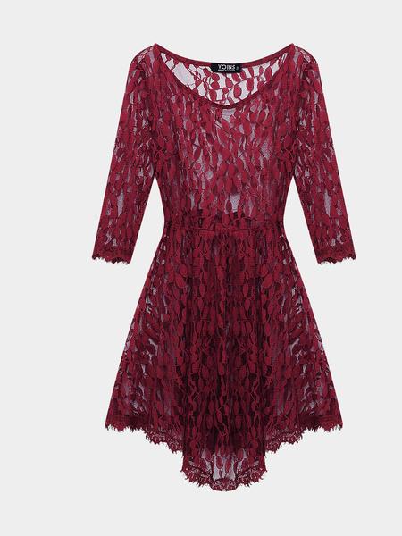Yoins Burgundy Lace Leaf Skate Dress