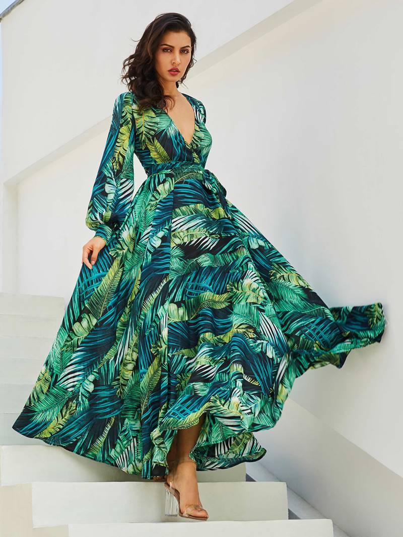Ericdress V-Neck Plant Print Lace-Up Maxi Dress