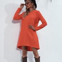 Solid V Neck Curved Hem Tee Dress