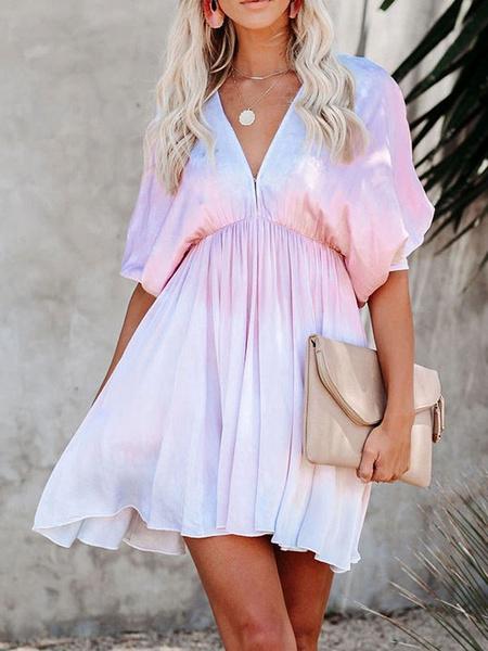 Milanoo Women Summer Dress Lilac V-Neck Cut Out Tie Dye Short Beach Dress