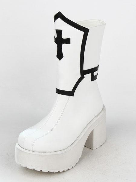 Milanoo Gothic Lolita Boots Black Punk Cross Platform Chunky Heel Round Toe Lolita Short Boots