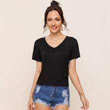 V Neck Solid Tee