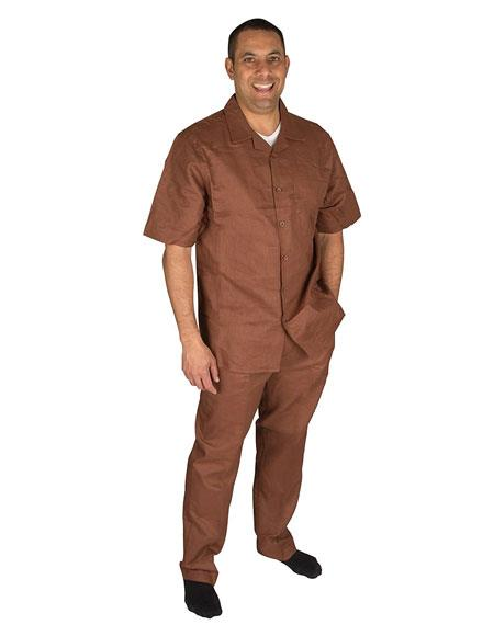 Mens Brown Short Sleeve ButtonClosure 1Linen 2Piece Pleated Pant Shirt