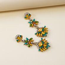 1pair Colorblock Rhinestone & Faux Pearl Drop Earrings