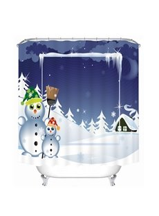 Two Snowmen Playing and Smiling Printing Christmas Theme 3D Shower Curtain