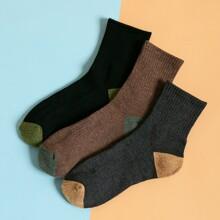 3pairs Men Color Block Socks