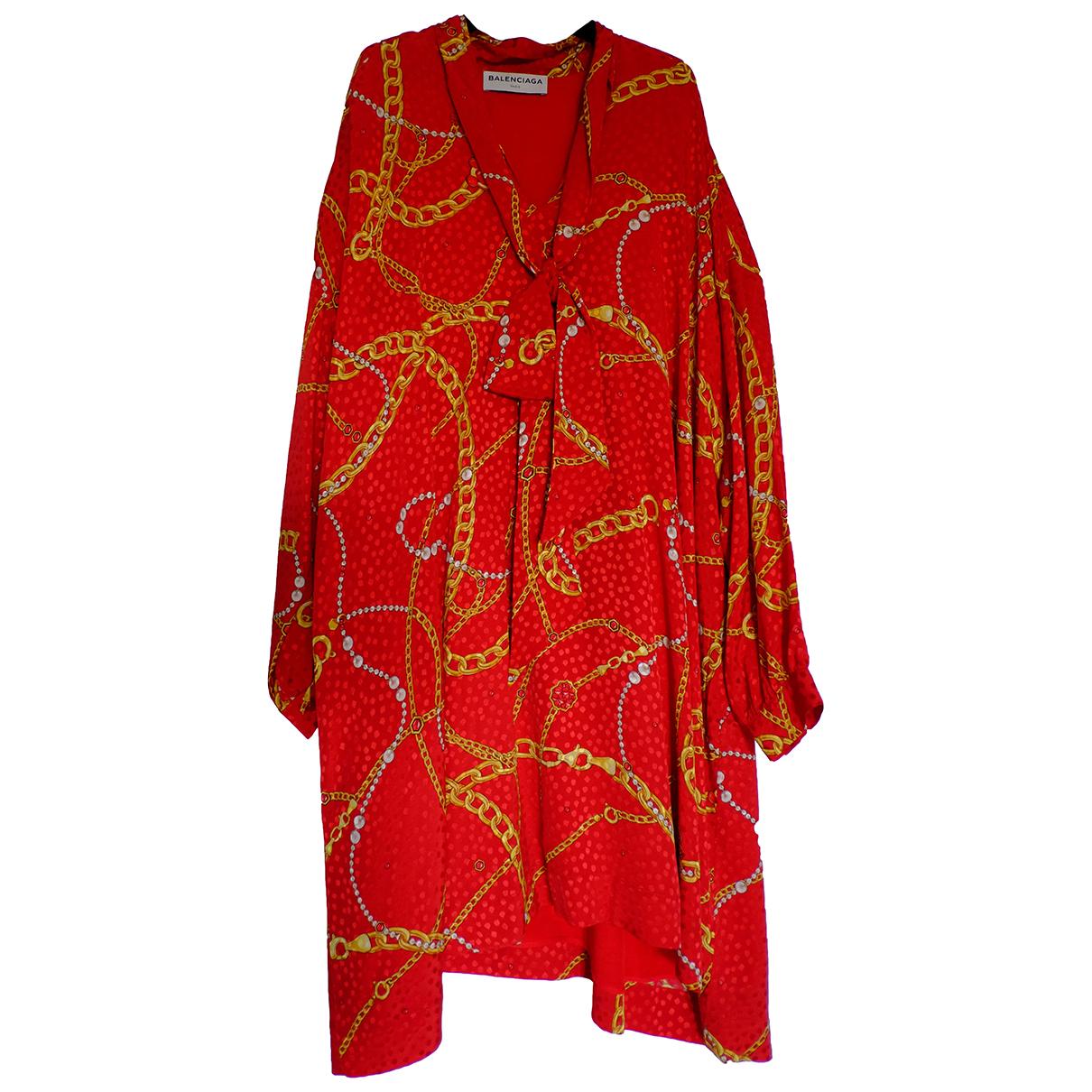 Balenciaga - Robe   pour femme en soie - rouge
