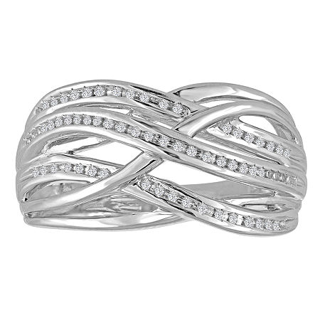 Womens 1/10 CT. T.W. Genuine White Diamond Sterling Silver Cocktail Ring, 7 , No Color Family