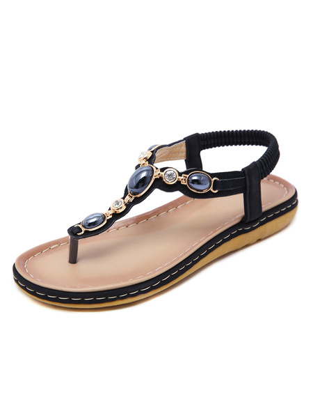 Milanoo Flat Sandals For Woman Flat PU Leather Bohemian