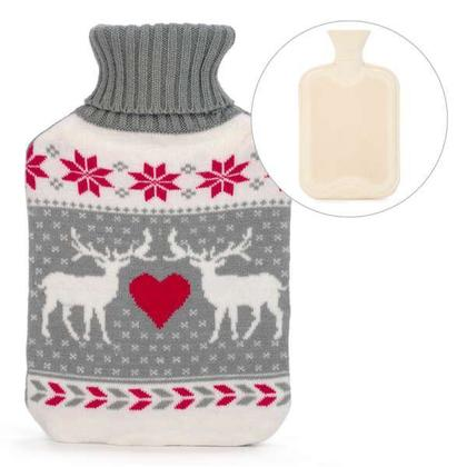 Hot Water Bottle with 2 Deer Knit Cover 8 X 13