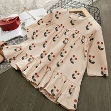 Toddler Girls Cherry Print Ruffle Hem Smock Dress