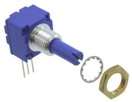 Bourns 1 Gang Rotary Cermet Potentiometer with an 6 mm Dia. Shaft - 100kΩ, ±20%, 2W Power Rating, Linear, Panel Mount