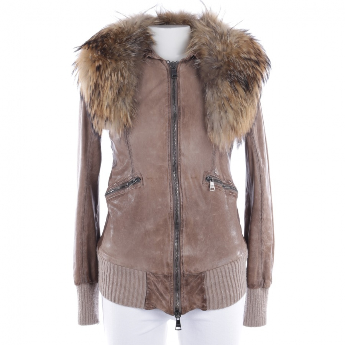 Non Signé / Unsigned \N Beige Leather jacket for Women 40 FR