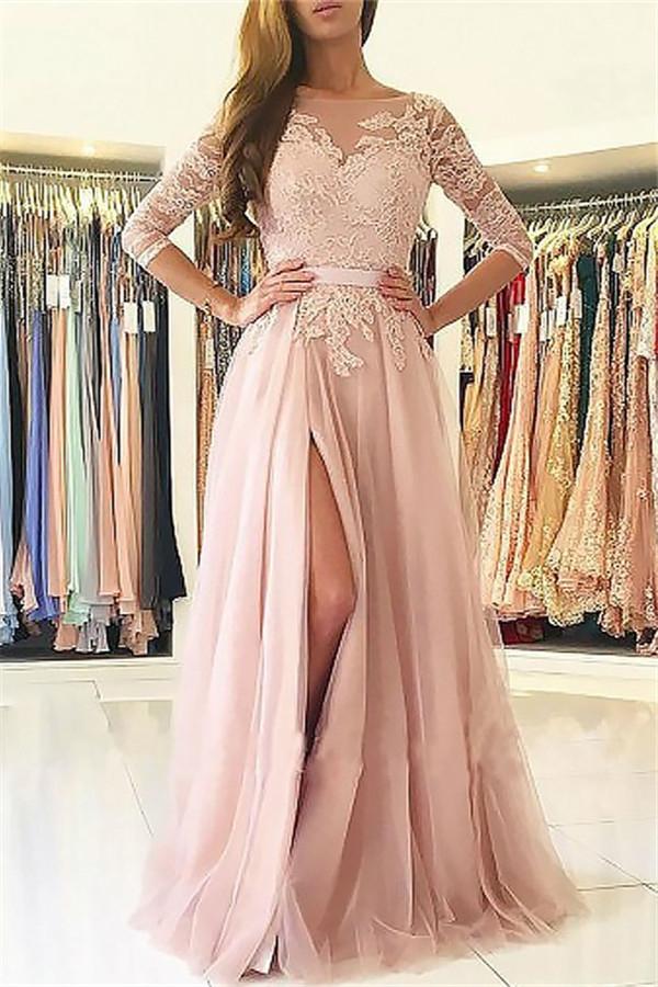 Elegante apliques mangas largas vestidos de baile | Open Back Jewel Side Slit vestidos de noche con cinturon