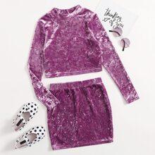 Conjunto top de terciopelo de tie dye con falda