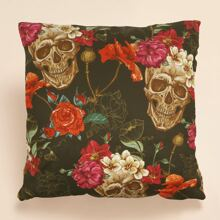 Skull Flower Print Cushion Cover Without Filler