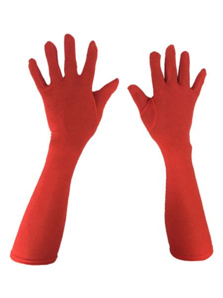 Milanoo Lycra Spandex Gloves Elbow Length Unisex White Magician Halloween Costume Accessory Halloween