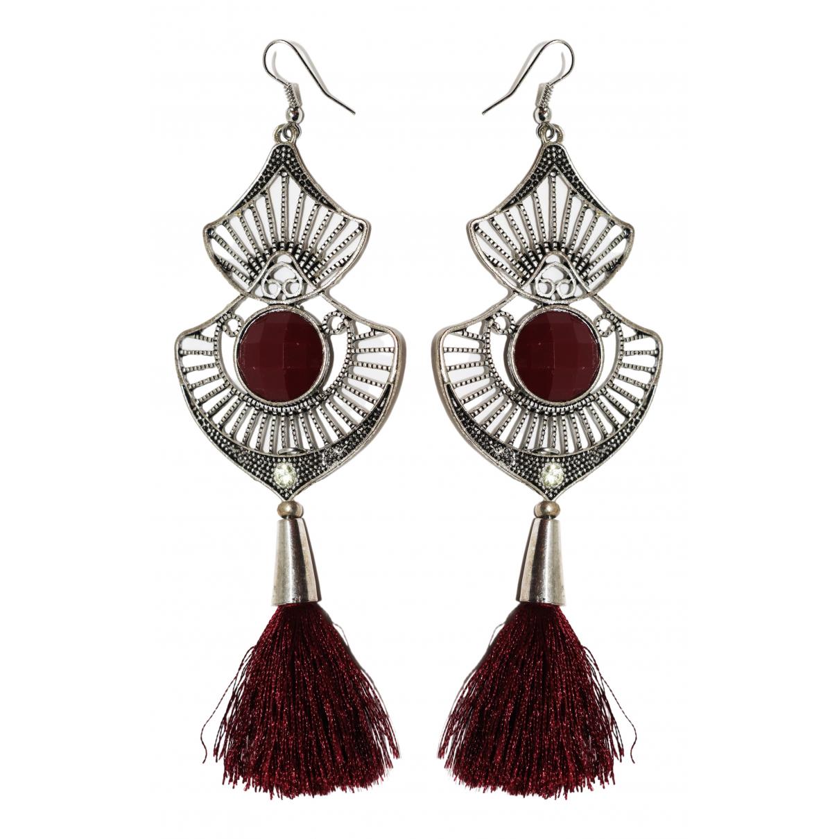 - Boucles doreilles Motifs Ethniques pour femme en metal - argente