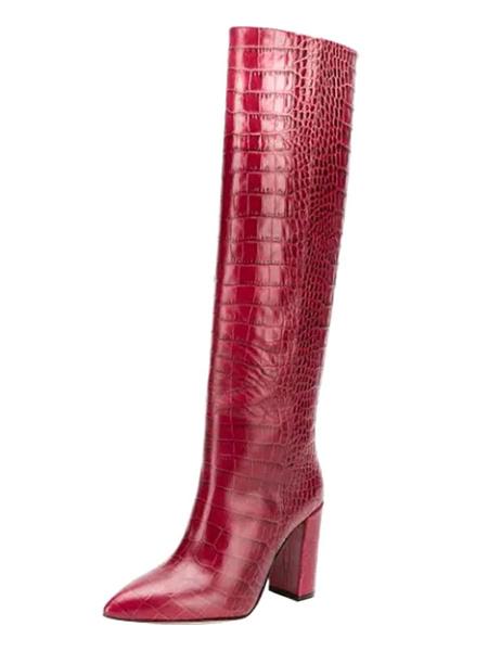 Milanoo Botas hasta la rodilla de mujer Uva puntiaguda Tacon grueso Estampado de piel de serpiente Botines de mujer