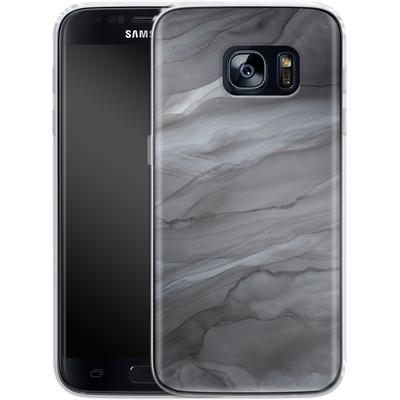 Samsung Galaxy S7 Silikon Handyhuelle - Black Watercolour Marble von Becky Starsmore