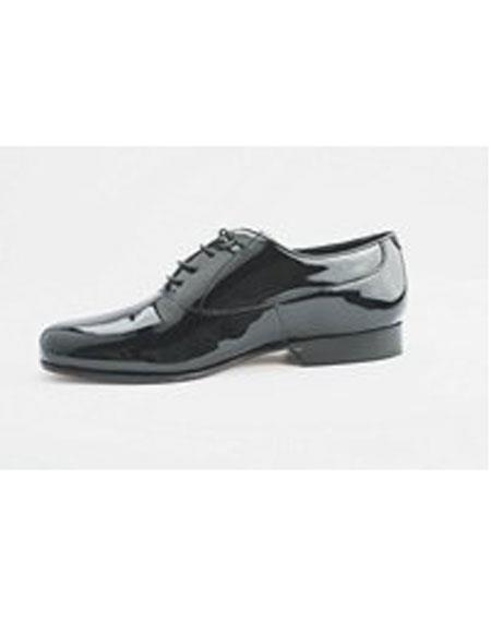 Men's Lace Up Cushion Insole Black Genuine Patent Patern Shoes