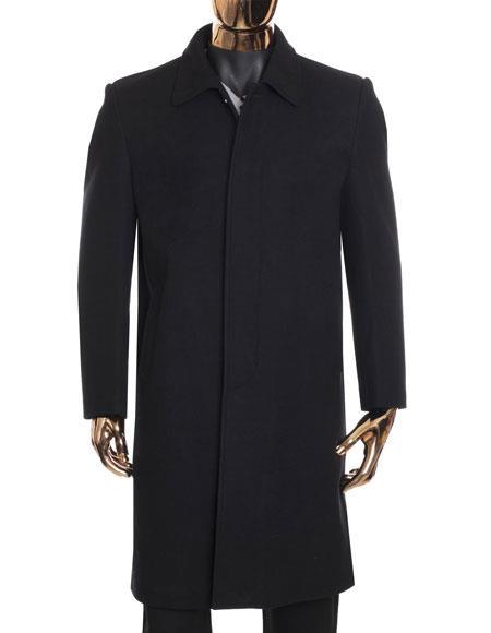 Mens Black Zip Up Closure Knee Length Collared Wool Coat