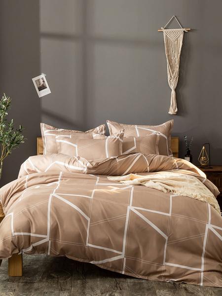 Milanoo Bedding Set 3-Piece Polyester Fiber Khaki Bedding Supplies