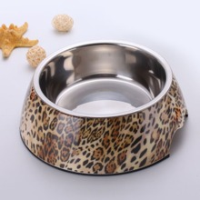 1pc Leopard Dog Feeding Bowl & 1pc Stainless Steel Bowl