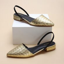 Metallic Quilted Slingback Flats
