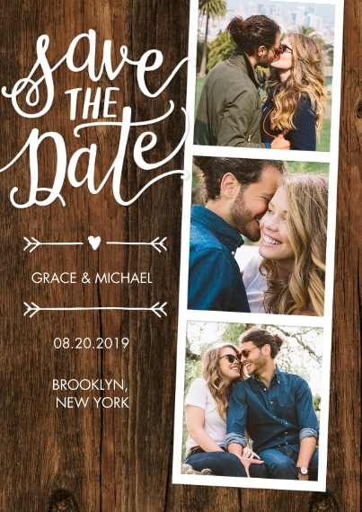 Save the Date Flat Glossy Photo Paper Cards with Envelopes, 5x7, Card & Stationery -Save the Date Woodgrain