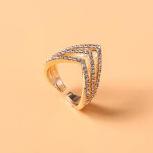 Rhinestone Decor Cuff Ring