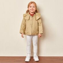 Toddler Girls Frill Trimed Single Breasted Coat