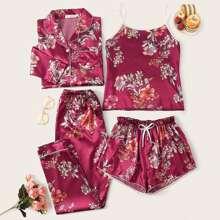 Satin Schlafanzug Set mit Blumen Muster 4 Stuecke