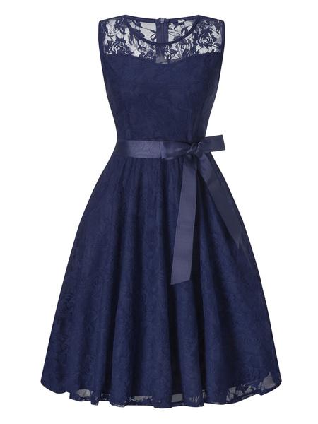 Milanoo Vestidos del cordon de Borgoña cuello de la joya de encaje sin mangas los vestidos casuales