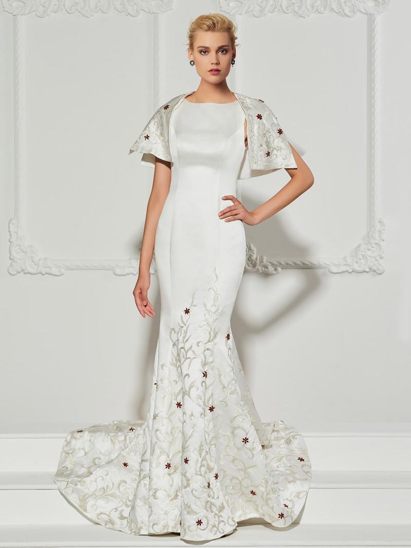 Ericdress Beaded Embroidery Zipper-Up Mermaid Evening Dress