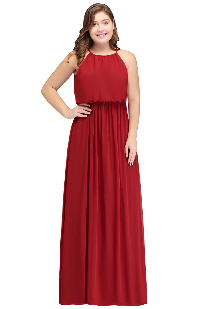 JAIDA | A-ligne bretelles rez-de-longueur sans manches Plus la taille des robes de demoiselle dhonneur avec volants