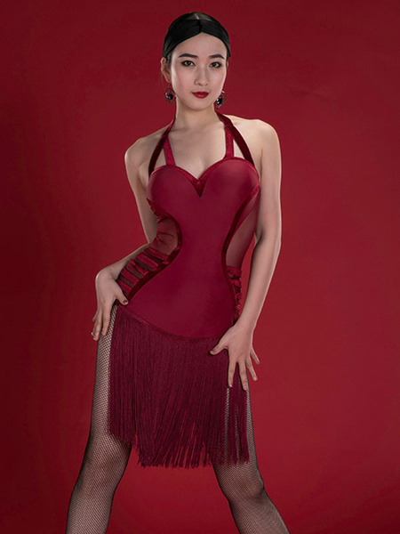 Milanoo Dance Costumes Latin Dancer Dresses Burgundy Women Fringe Semi Sheer Skirt Dancing Wears Outfit Halloween