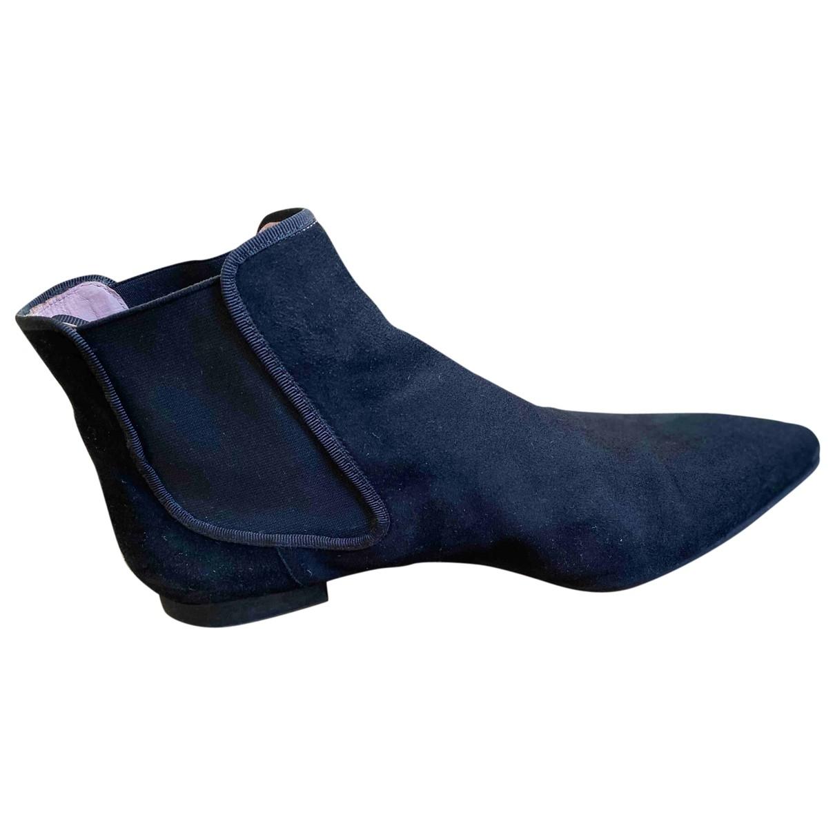 Pretty Ballerinas - Boots   pour femme en suede - noir