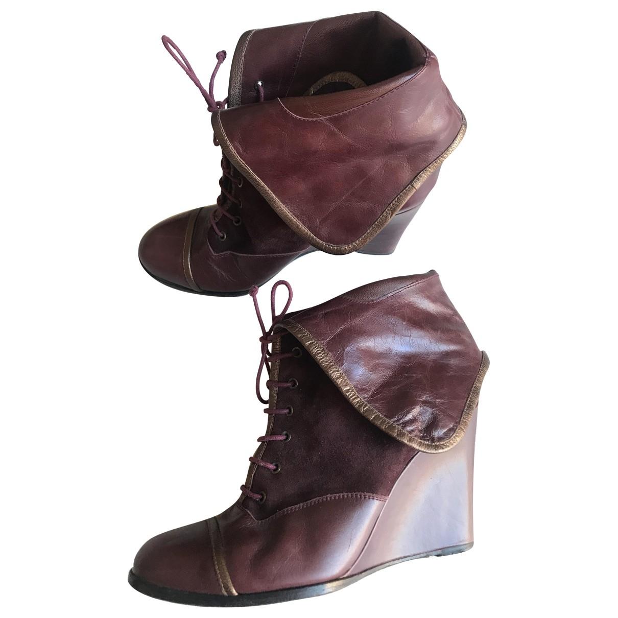 Bimba Y Lola - Boots   pour femme en cuir - bordeaux