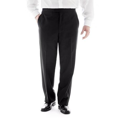 Stafford Flat-Front Tuxedo Pants-Big & Tall, 48 32, Black