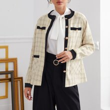 Contrast Binding Button Front Plaid Tweed Coat