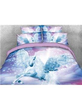 Vivilinen White Unicorn with Wings Printed 4-Piece 3D Bedding Sets/Duvet Covers