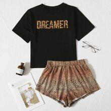 Schlafanzug Set mit Leopard und Buchstaben Muster