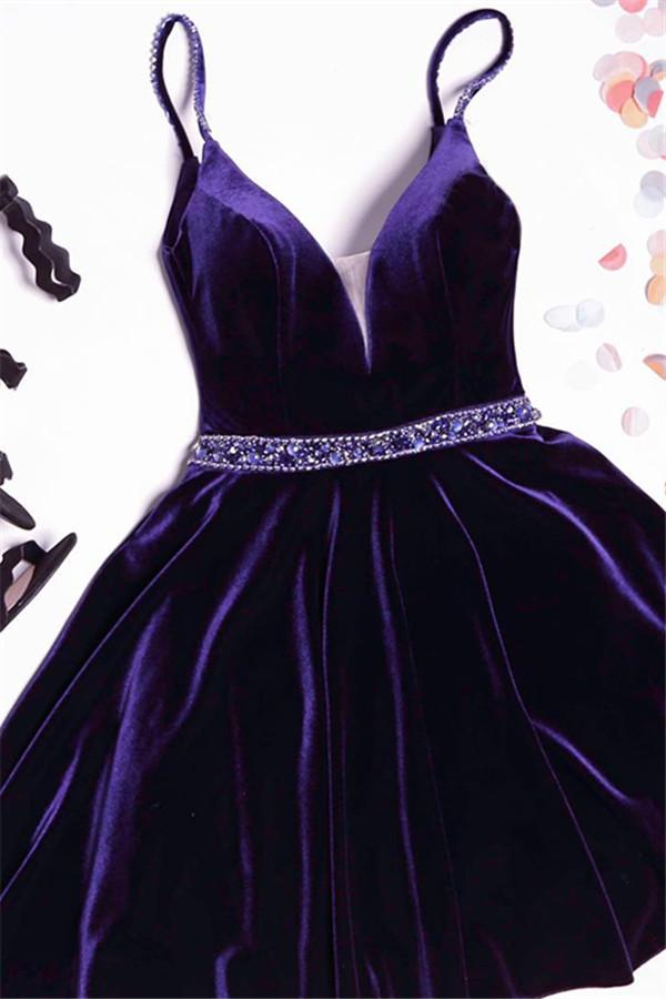 Correas de espagueti simples Una linea Vestidos de Fiesta Velvet Crystal Hoco Vestido BA7062