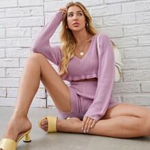 V Neck Ruffle Hem Crop Sweater & Knit Shorts Set