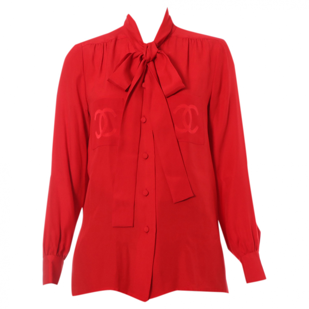 Chanel N Red Silk  top for Women 42 FR