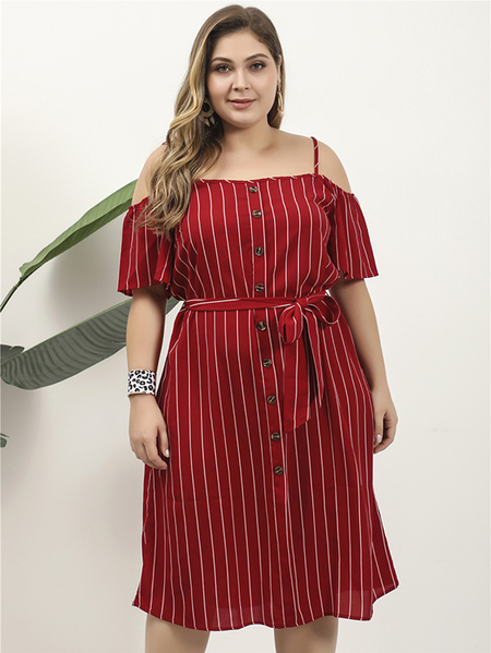 Yoins Plus Size Black Belt Design Striped Cold Shoulder Dress