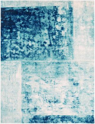 Harput HAP-1057 9 x 126 Rectangle Modern Rug in Teal  Dark Blue  Black