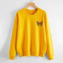 Sweatshirt mit Schmetterling & Buchstaben Grafik