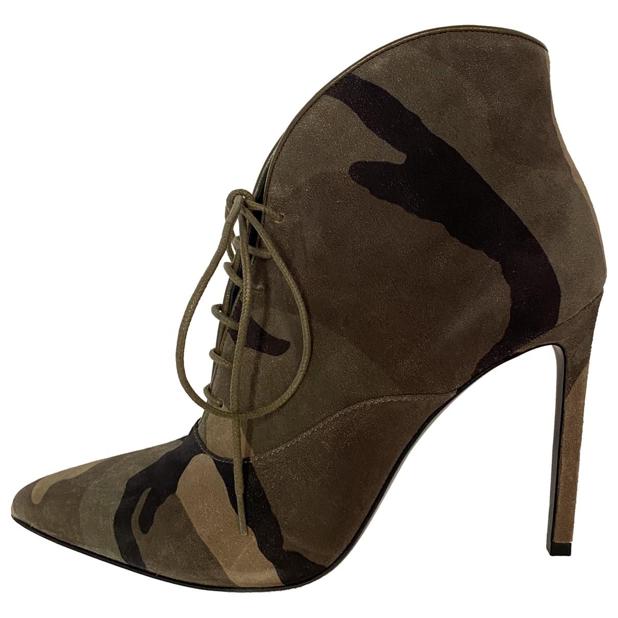 Saint Laurent \N Khaki Suede Ankle boots for Women 36.5 EU
